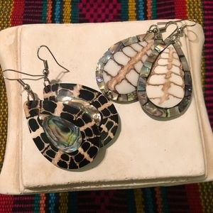 Jewelry - Abalone on Coconut Shell, Earrings - Two Pair!
